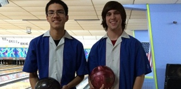 Wampus Cat Bowling Seniors Christian Lopez and Nathan Spradlin