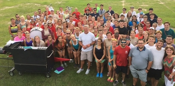 Brett Favre pays a visit to the Hancock High Band