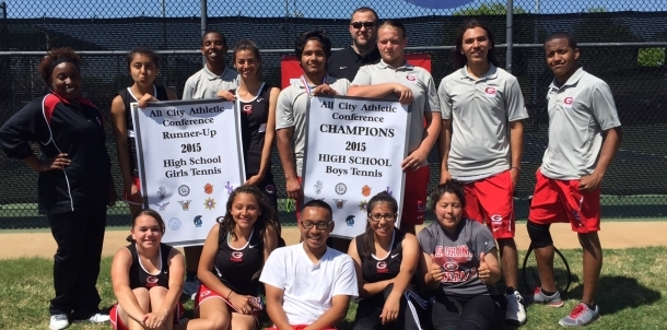 Coach Kappel with the Tennis Teams after All-City