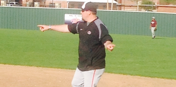 Coach Bryant working hard at First Base!