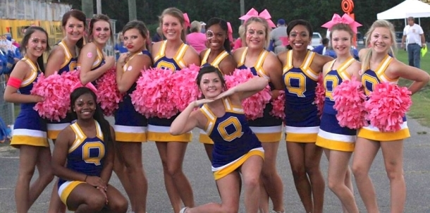QHS Cheerleaders Supporting Breast Cancer Awareness