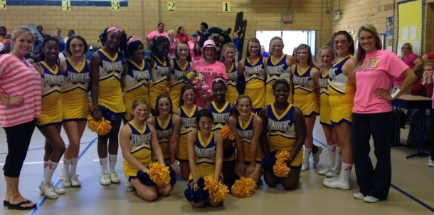 QJH Cheerleaders Pink Out Pep Rally