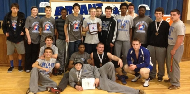 Bryant wrestling team earns second at conference tourney