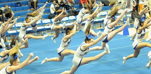 Cheer team entertains during halftime