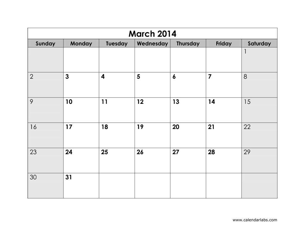 2014 Calendar Printout