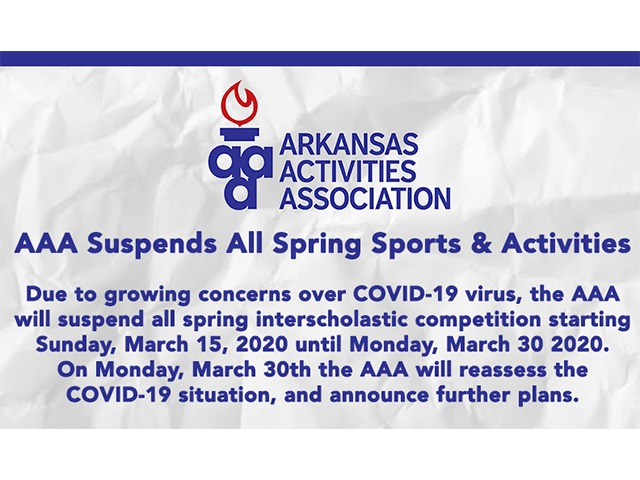 AAA Suspends Spring Interscholastic Competition: March 15-30
