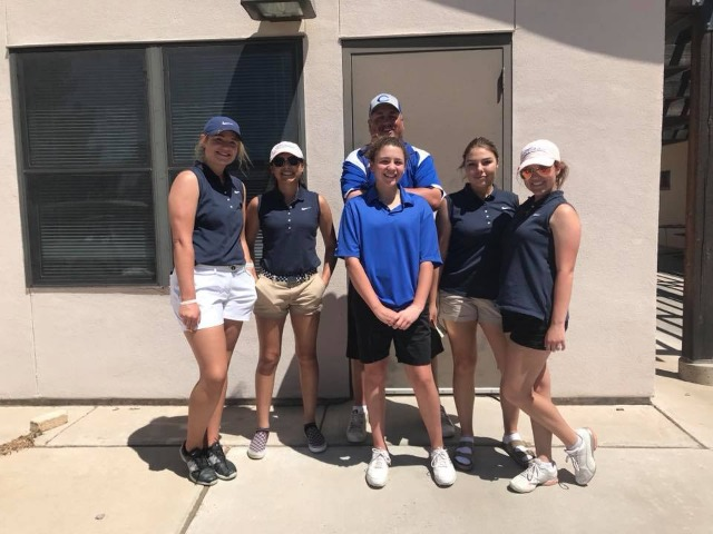 The cavegirl varsity golf team earned their first state qualifying score