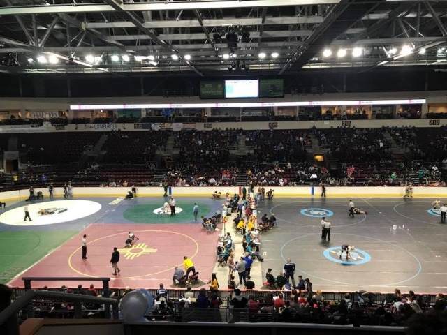 A view from the rafters at the NM State Wrestling tournament