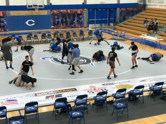 Cavemen Wrestling in preparation for tonight's match against Goddard