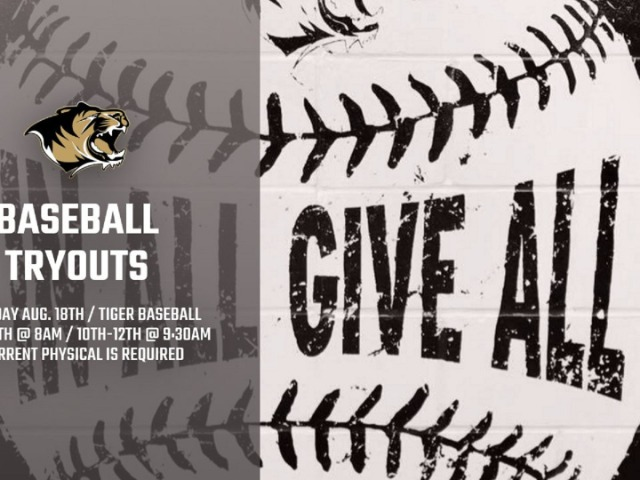 Tiger Baseball to Hold Tryouts Next Saturday