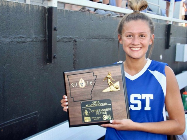 Kelly Carson named the MVP of the Arkansas Activities Association All-Star soccer game