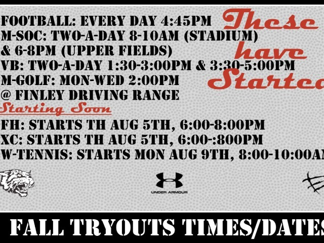 Fall Sports Tryouts Times/Date