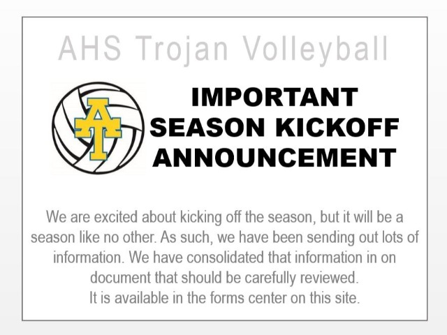 Season Kickoff Announcements - Actions Required