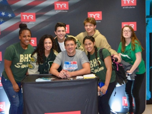 BHS Swim team meets Olympian Ryan Lotche