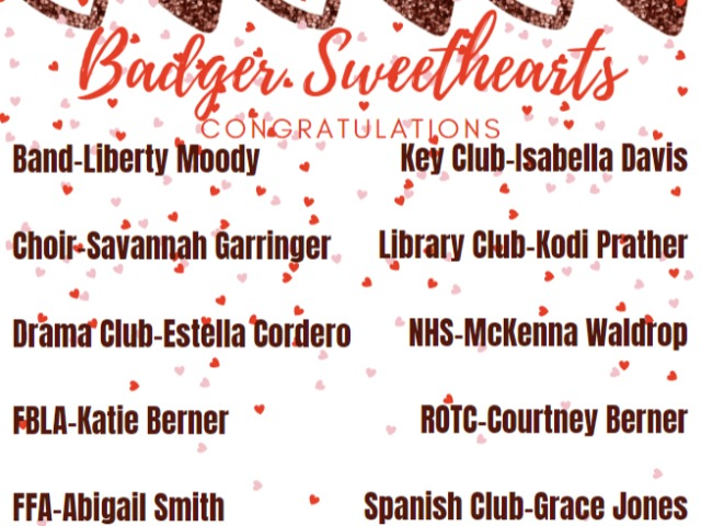 Badger Sweethearts Announced