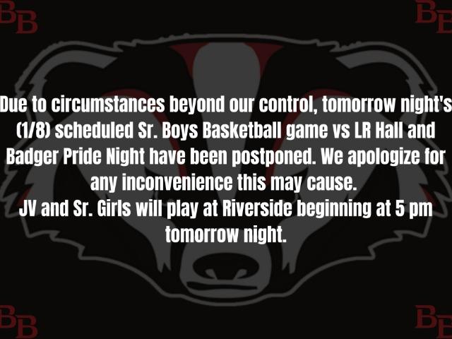 Boys Basketball and Badger Pride Night Postponed