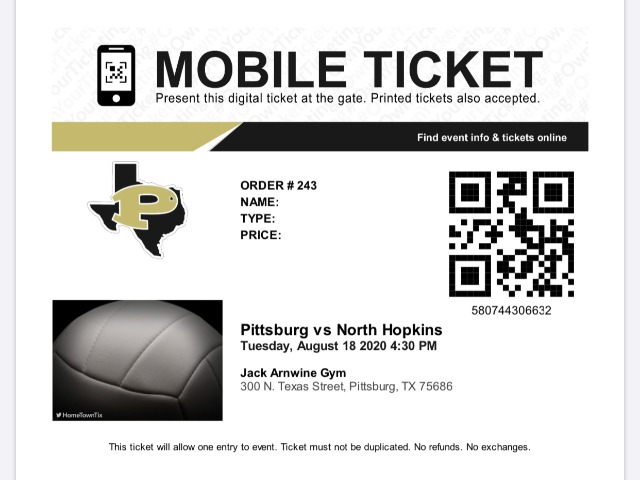 Pittsburg ISD Ticket Pre-Sale Instructions