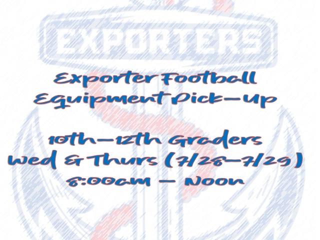 Image for Exporter Football - Equipment Pickup Schedule