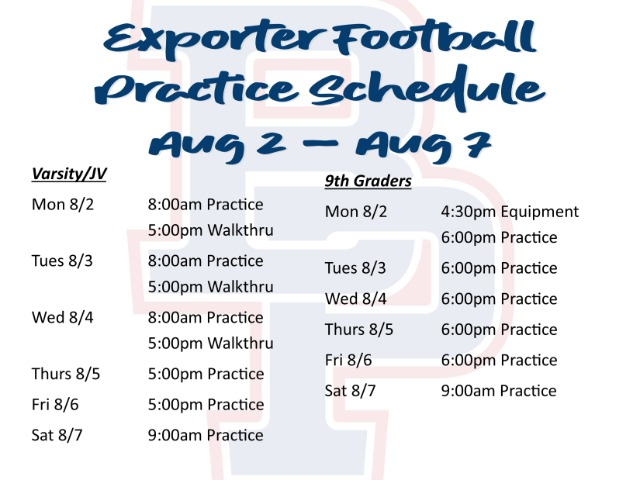 Image for Exporter Football - Fall Camp Week One