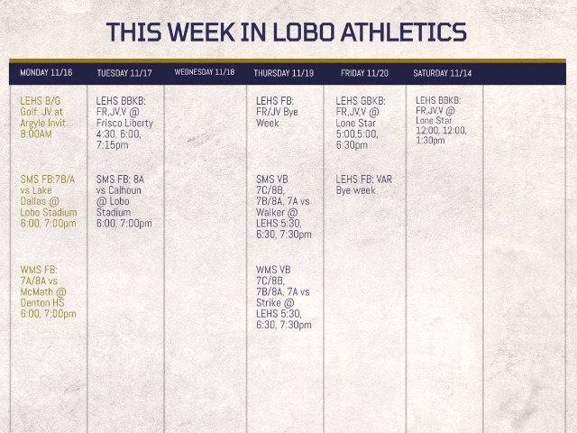 LEISD Athletic Events Week of 11/16/2020 & Ticketing Information