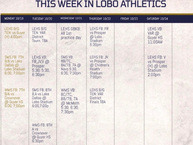 LEISD Athletic Events Week of 10/19/2020 & Ticketing Information