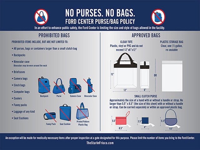 The Star at Frisco Clear Bag Policy