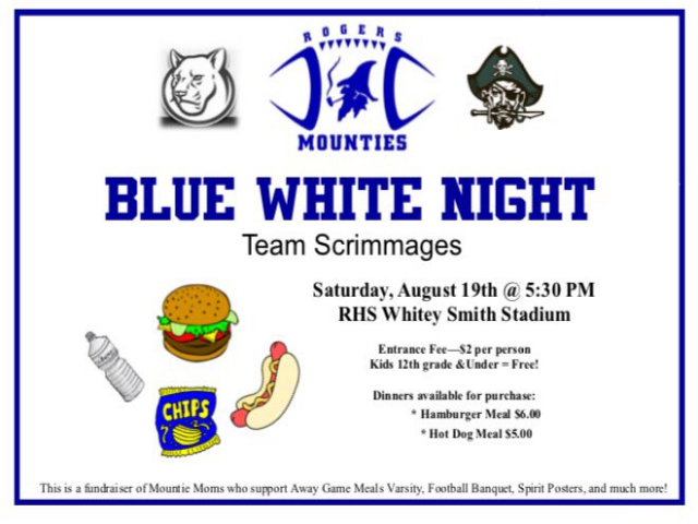 Blue White Night scrimmages will begin at 5:30pm tonight