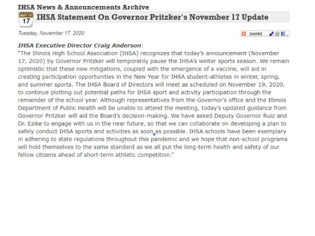 Image for IHSA Update