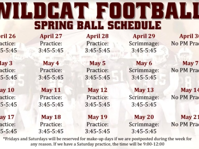 Image for Spring Football Schedule 2021