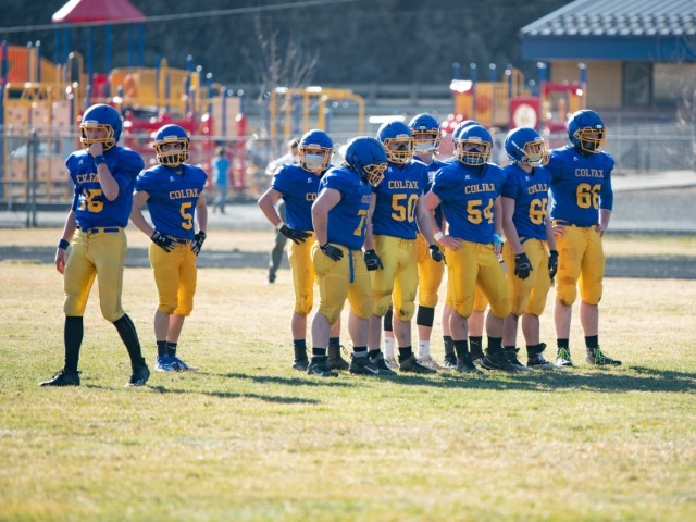 The Colfax Bulldogs  out battle the Reardan Indians  in an ending score of 46-6.