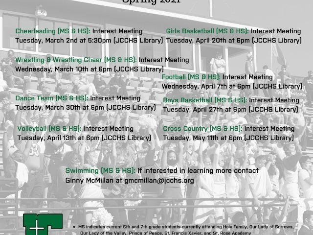 Image for JCCHS Announces Athletics Interest Meeting Dates!