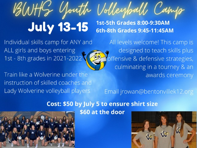 Image for BWHS Youth Volleyball Summer Camp Registration is Open