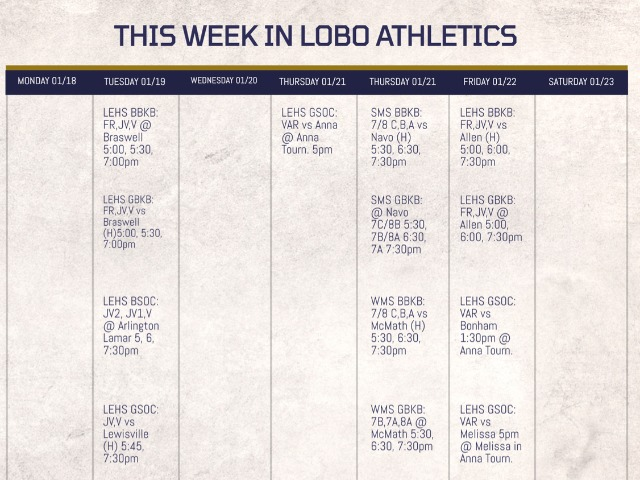 LEISD Athletic Events Week of 01/18/2021 & Ticketing Information