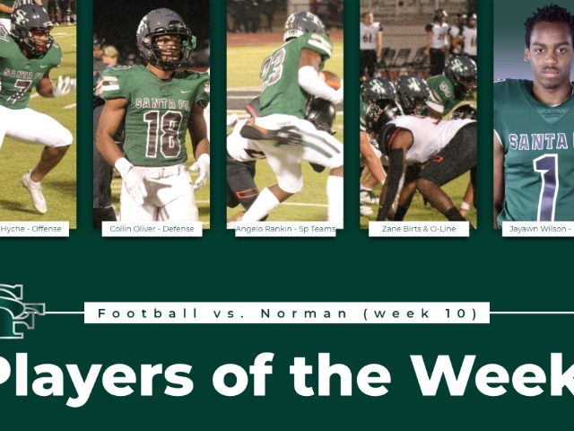 VARSITY FOOTBALL PLAYERS OF THE WEEK FOR WEEK 10 VS NORMAN
