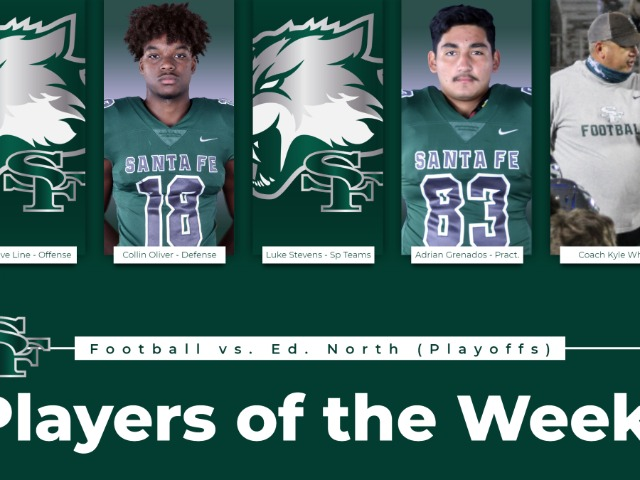 Varsity Football Players of the week for Playoffs Round 1 vs Edmond North