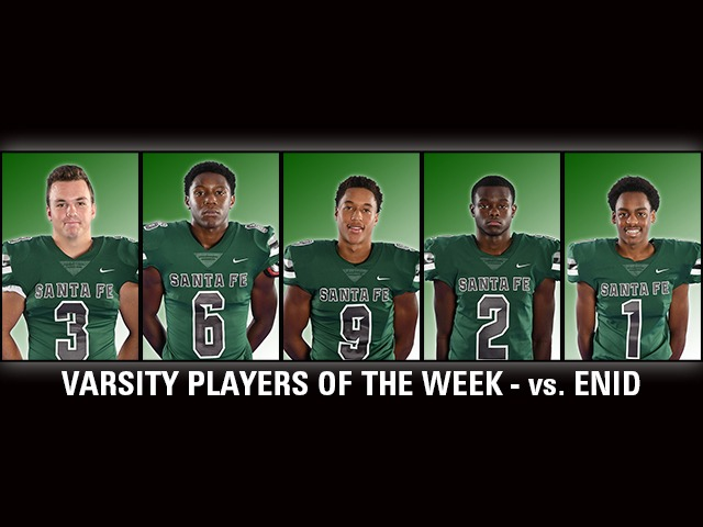Varsity Football Week 6 (vs. Enid) Players of the Week