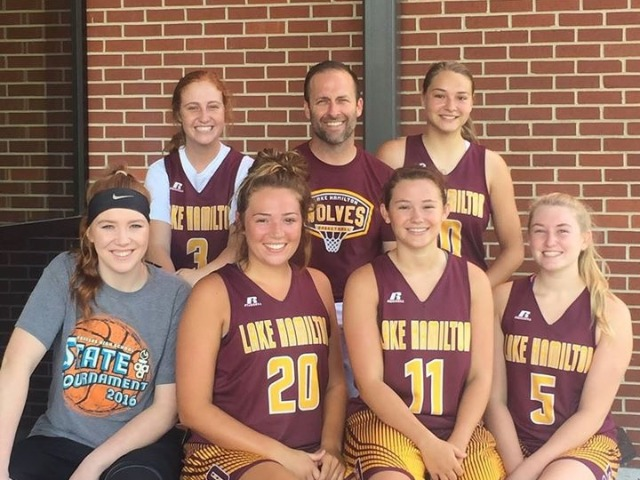 Coach Condley with senior girls