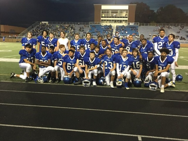Blue 8th grade football team had an undefeated season at 8-0!!