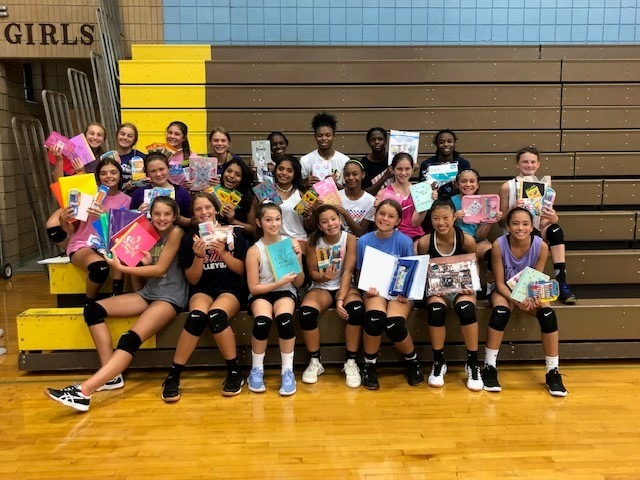 CSMS volleyball team collected girlie back to school supplies to help young ladies of at the Haven House have a wonderful school year