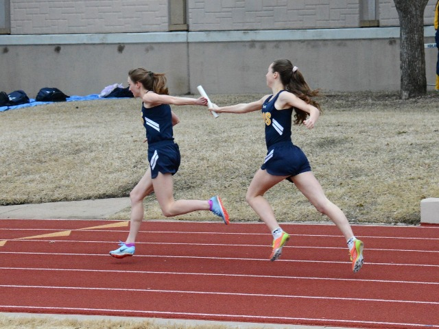 2019 Dual Meet - Sophomore Claire Cochran and Senior Captain Ashley Booe - 4 x 100 M Relay