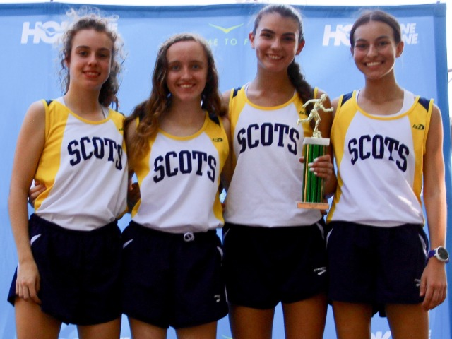 2018 Greenhill Relays - Varsity - 3rd Place - Sophomore Cameron Fawcett, Junior Grace O'Keefe, Senior Captain Maddy Stephens, and Sophomore Sophia Oliai