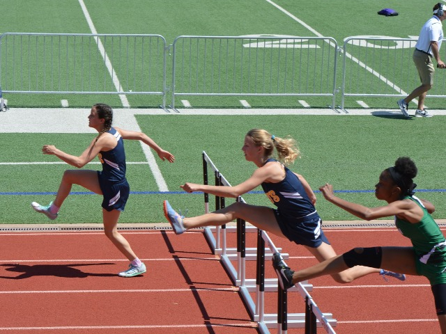 2019 District 11-5A Meet - Senior Anastasia Helms and Junior Captain Olivia Conner - 100 M Hurdles