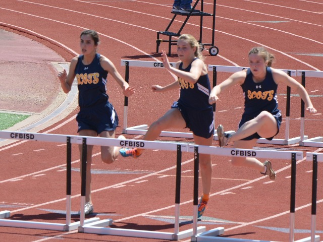 2019 District 11-5A Meet - Junior Ashley Nelson, Sophomore Kathryn Dunnill, and Junior Kate Allen - 100 M Hurdles