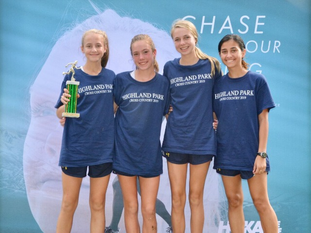 2019 Greenhill Relays - Freshmen Ella Madden, Charlotte Hudson, and Grace Hathaway, and Sophomore Lola Rodriguez