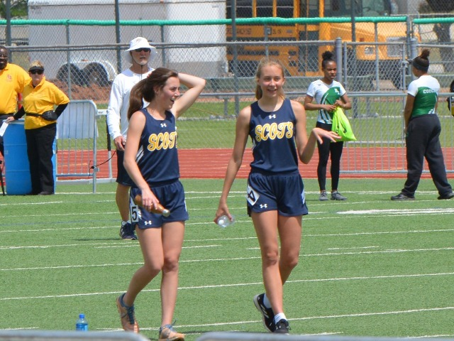 2019 District 11-5A Meet - Junior Margaret Chambless and Sophomore Elle Thompson - after 400 M Dash