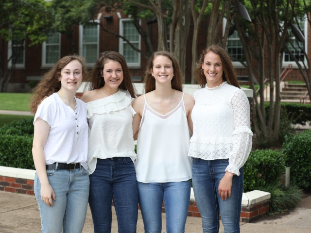 2019-2020 Lady Scots Basketball Captains - Senior Madelyn Miller and Sophomores Madison Visinsky, Kate Rhodes, and Ella Patterson