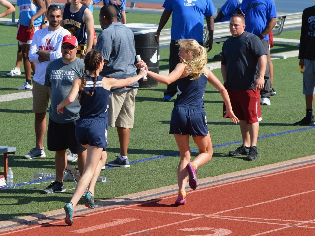 2019 District 11-5A Meet - Junior Margaret Chambless and Freshman Linda Bakich - 4 x 400 M Relay