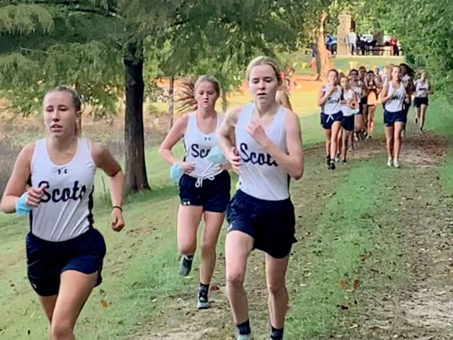 2020 Mesquite ISD JV Meet 1 - Lily Baumgartner, Julia Yates, and Kate Denton