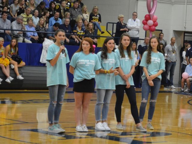 Captains speaking at Pep Rally on Oct. 12th - Maddy Stephens, Ella Brown, Lizzy Brimmage, Sarah Dalton, and Ashley Booe