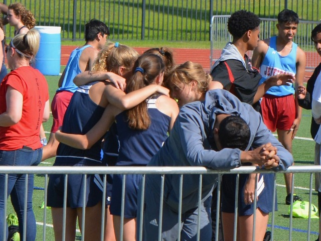 2019 District 11-5A Meet - 4 x 400 M Relay Huddle